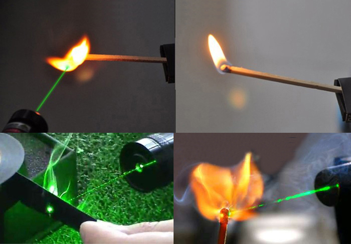 green laser pointer burns match