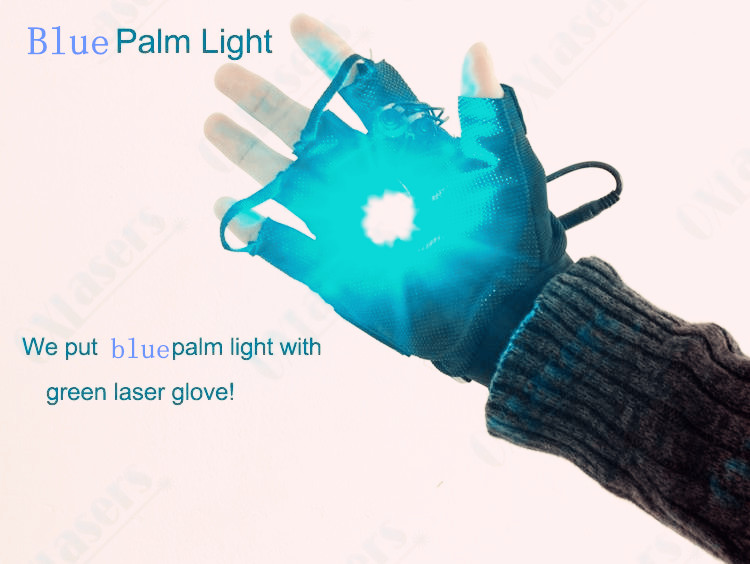 green laser gloves with 4pcs green lasers and 1pcs blue plam light